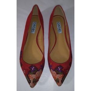 CYNTHIA ROWLEY Astor Suede Embroidered Flats 7.5